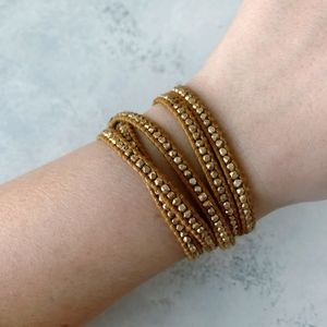 Chan Luu Gold Nugget Gold Leather 5 Wrap Bracelet